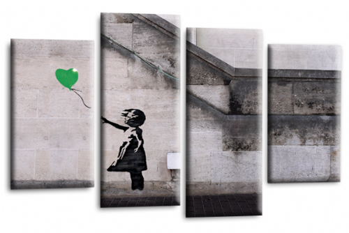 Banksy Art Balloon Girl Love Peace Green Grey Canvas Wall Picture